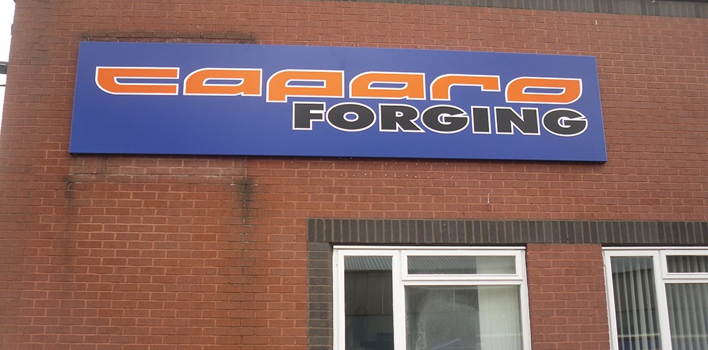 Printed business sign in Birmingham