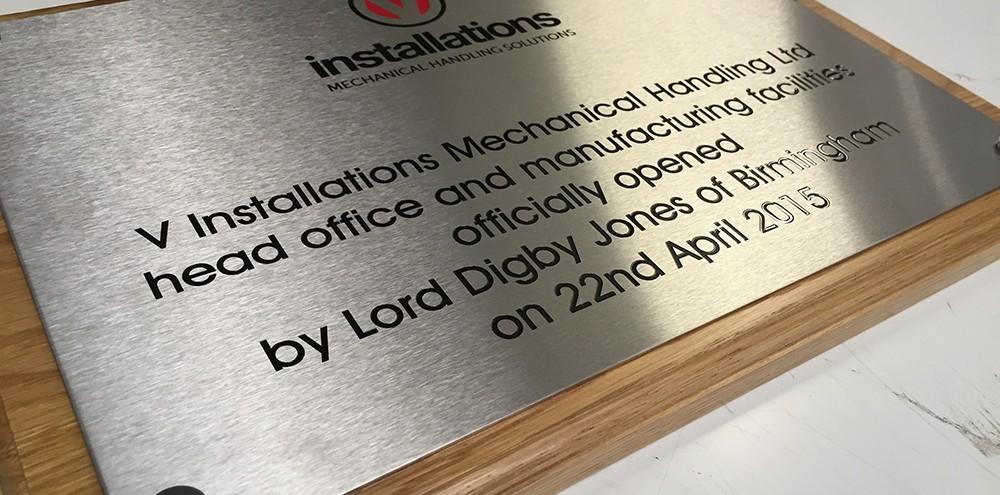 Engraved plaque in Birmingham
