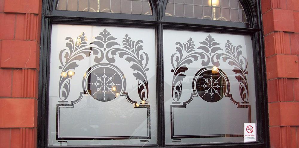 Silver etch window graphics for a pub in Birmingham