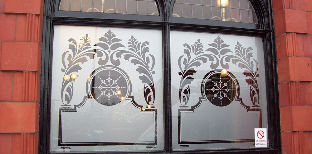 Silver etch window graphics for a pub in Birmingham