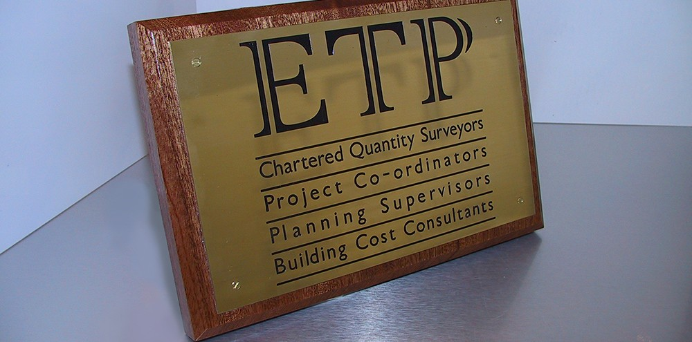 Acid etched engraved sign for ETP in Birmingham