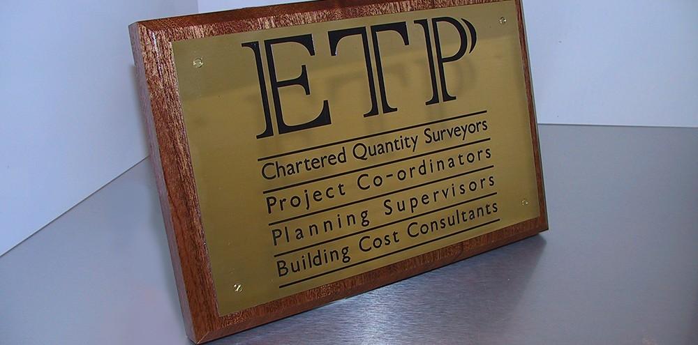 Acid etched engraved sign for ETP in Birmingham