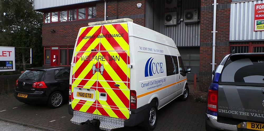 Rear reflective striping for van in Birmingham