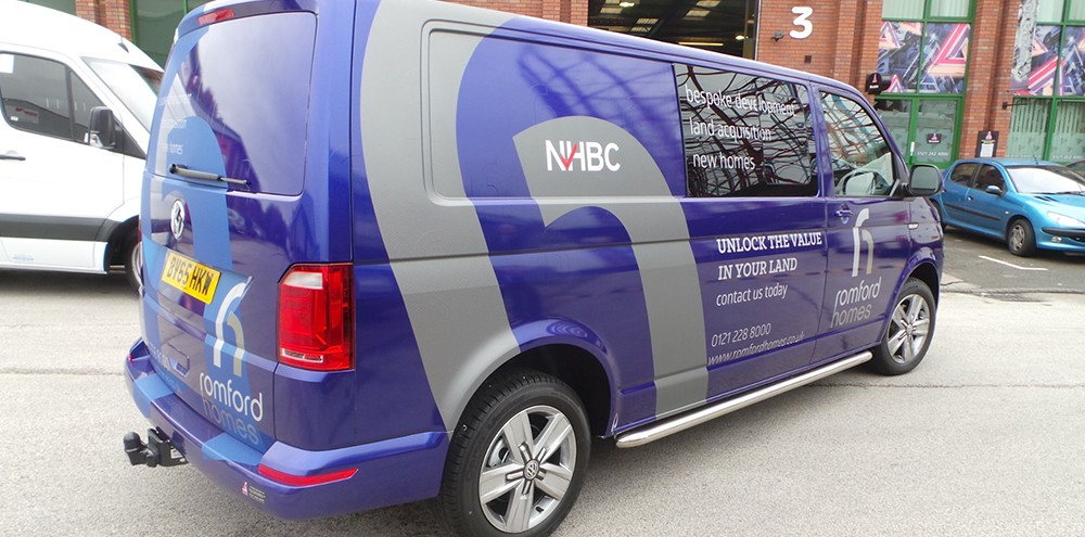 Purple metallic vehicle wrapping for Romford Homes in Birmingham