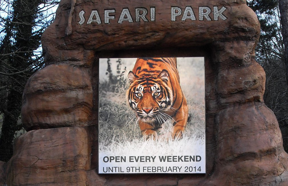 Flex face print for lightbox signage at West Midlands Safari Park
